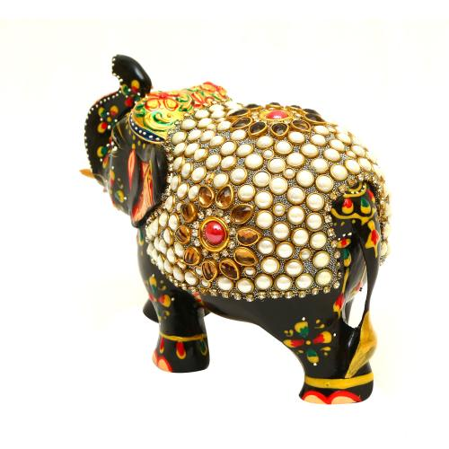METAL STONE PAINTED ELEPHANT