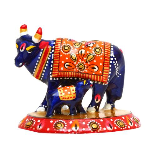 METAL PAINTED COW WITH CALF