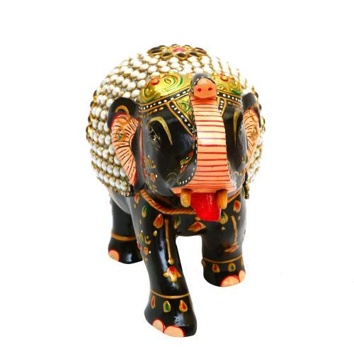 METAL STONE PAINTED ELEPHANT