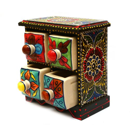 WOODEN PAINTED 4 DRAWER BOX