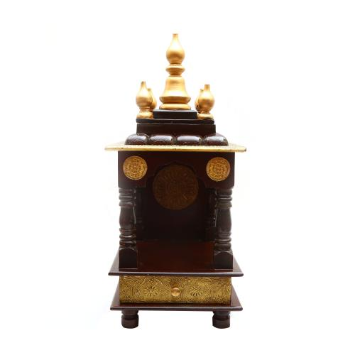WOODEN BRASS PAINTED POOJA MANTAP