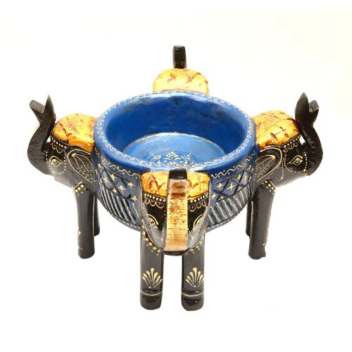 WOODEN PAINTED ELEPHANT BOWL