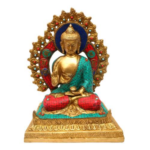BRASS BUDDHA SITTING WITH PRABHAVALI STONE WORK