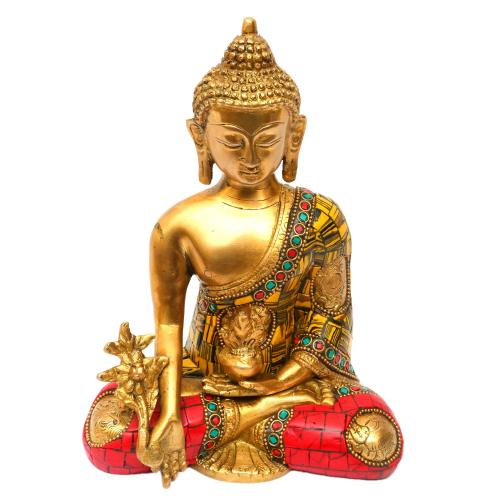 BRASS BUDDHA SITTING WITH TIGER STONE