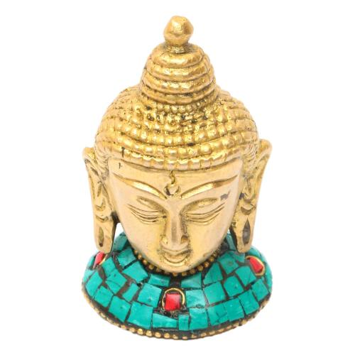 BRASS BUDDHA HEAD WITH STONE