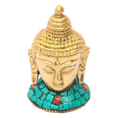 BRASS BUDDHA HEAD WITH STONE