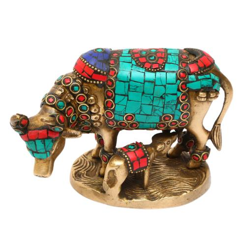 BRASS COW AND CALF OVAL BASE WITH STONE WORK