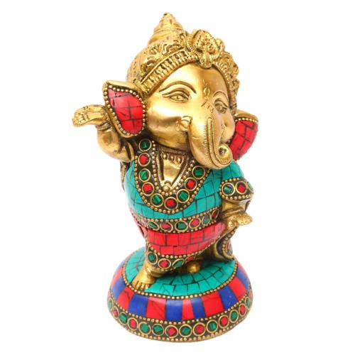 BRASS BABY GANESHA DANCING ON BASE STONE WORK