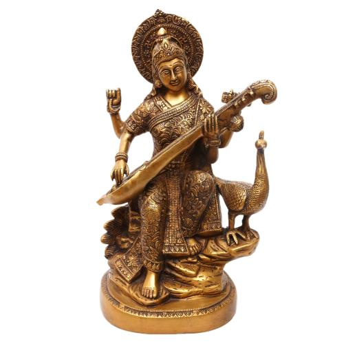 BRASS SARASWATHI SITTING ON PEACOCK