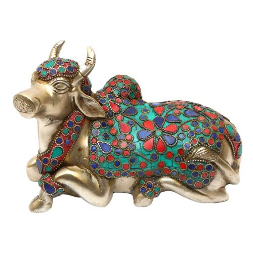 BRASS NANDHI SITTING CARVED WTH  STONE WORK WITH SILVER FINISHING