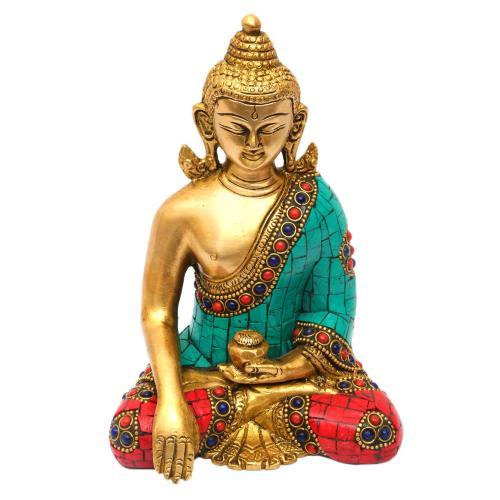 BRASS BUDDHA SITTING WITHOUT BASE STONE WORK