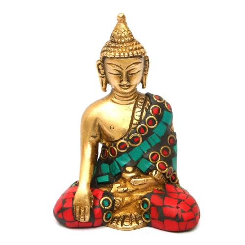 BRASS BUDDHA SITTING WITH STONE WORK