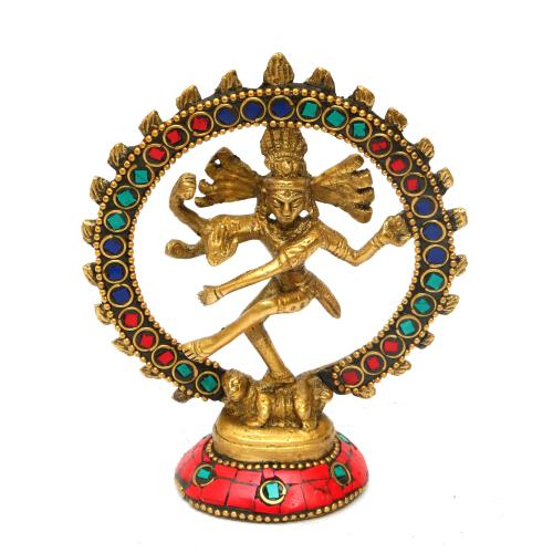 BRASS NATARAJA DANCING WITH STONE WORK