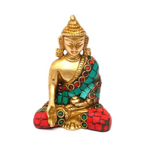 BRASS BUDDHA SITTING  STONE WORK
