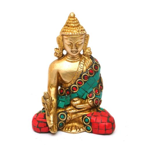 BRASS BUDDHA SITTING  STONE WORK
