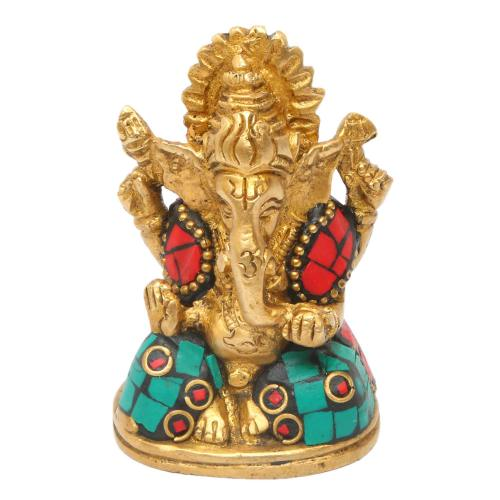 BRASS GANESHA SITTING ON OVAL BASE WITH STONE WORK