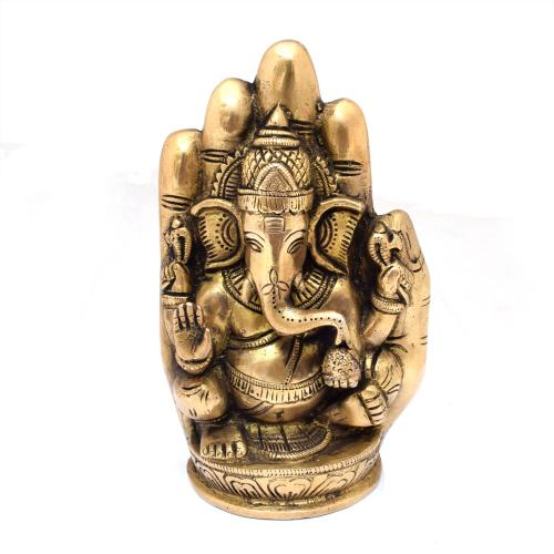 BRASS GANESHA SITTING IN PALM