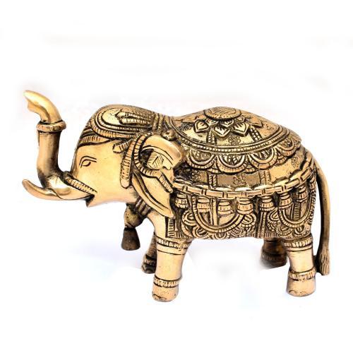BRASS SCULPTURE ELEPHANT TRUNK UP