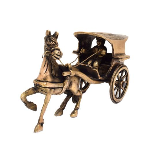 BRASS HORSE CART WITH MAN
