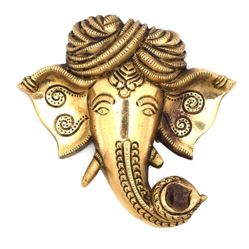 BRASS GANESHA PAGARI FACE WALL HANGING