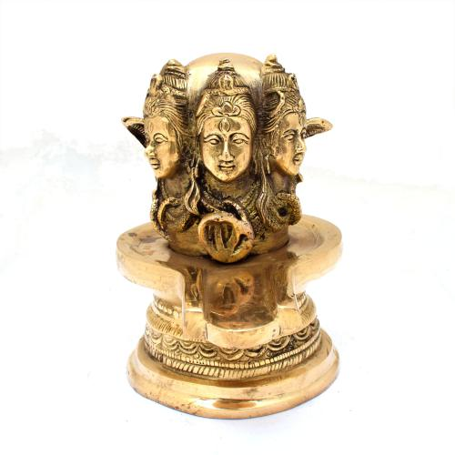 BRASS SHIVA LINGA WITH 3 SHIVA  FACE