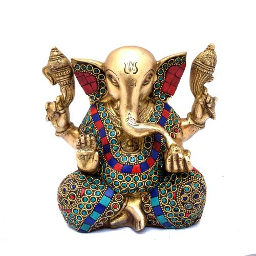 BRASS APPU GANESHA SITTING 4 HAND GEM STONE WORK
