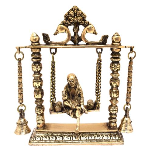 BRASS SAIBABA SITTING ON JHULA WITH BELL