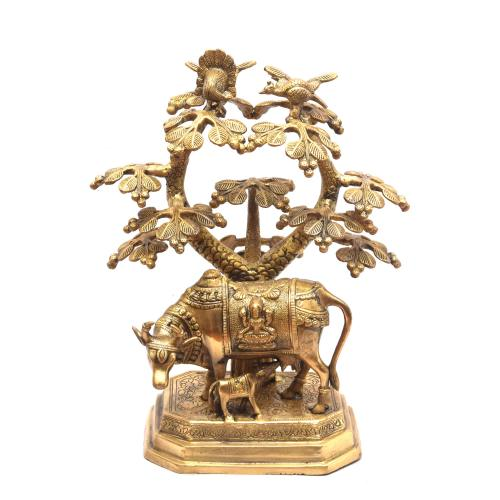 BRASS SCULPTURE COW AND CALF WITH KALPAVRIKSHA ON BASE