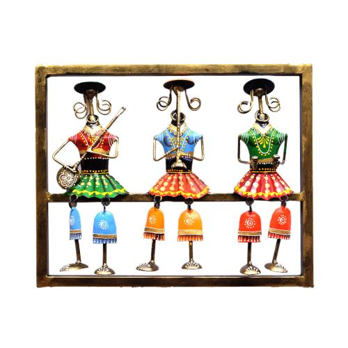 WROUGHT IRON 3 MUSICIAN LADY WALL HANGING