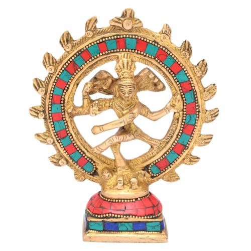 BRASS NATARAJA DANCING WITH GEM STONE