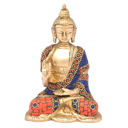 BRASS BUDDHA SITTING ON BASE WITH GEM STONE WORK