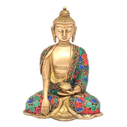 BRASS SCULPTURE BUDDHA BLESSING HAND GEM STONE WORK