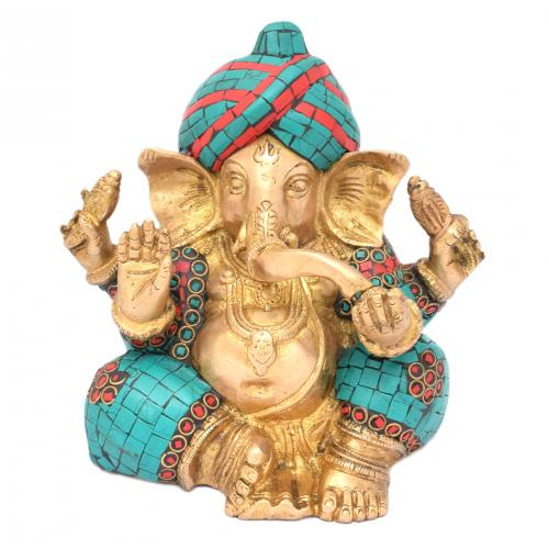 BRASS GANESHA PAGARI WITH GEM STONE WORK
