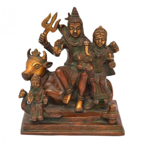 BRASS SHIVA FAMILY SITTING ON NANDHI