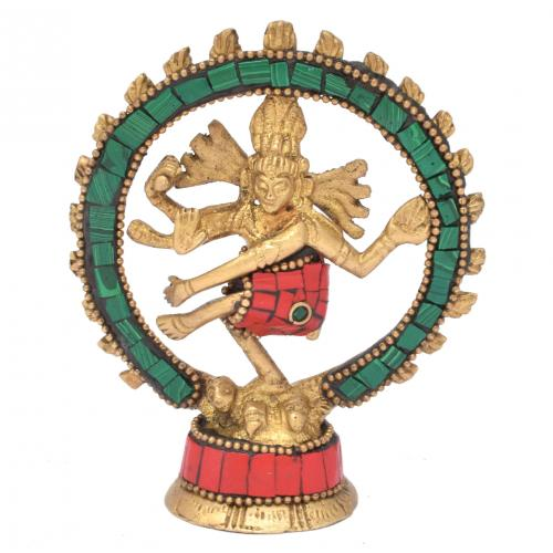 BRASS NATARAJA DANCING GEM STONE WORK