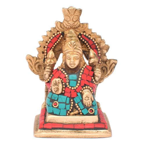 BRASS SCULPTURE LAKSHMI SITTING PRABHAVALI GEM STONE  WORK