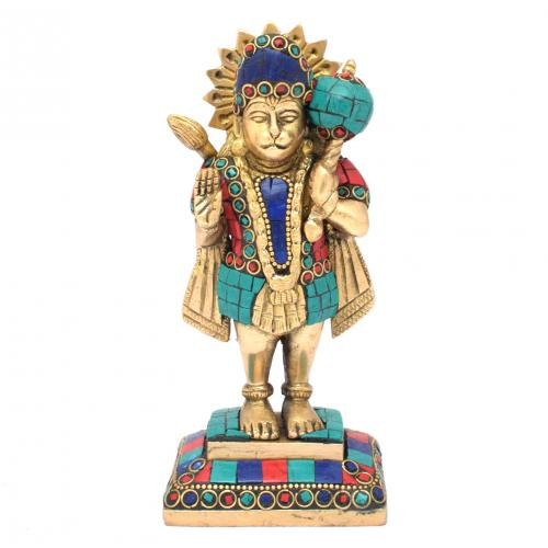 BRASS HANUMAN STANDNG WITH STONE