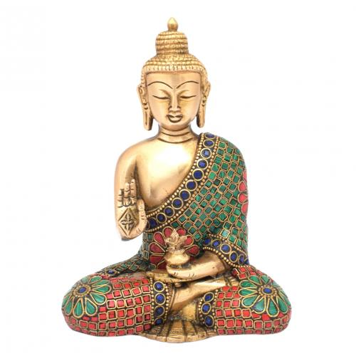 BRASS SCULPTURE BUDDHA SITTING WITH GEM STONE WORK