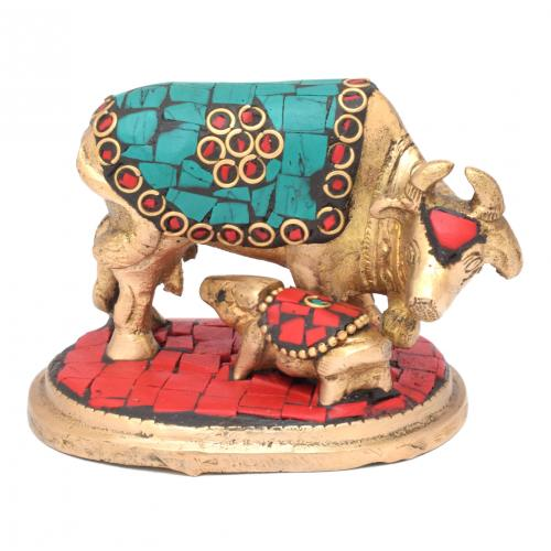 BRASS COW AND CALF GEM STONE WORK WITH BASE