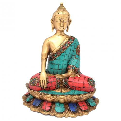 BRASS SCULPTURE BUDDHA SITTING ON LOTUS BASE GEM STONE WORK