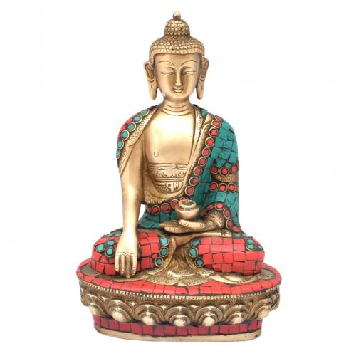 BRASS SCULPTURE BUDDHA SITTING ON BASE BASE GEM STONE WORK