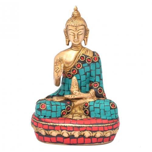 BRASS SCULPTURE BUDDHA SITTING ON BASE WITH GEM STONE WORK