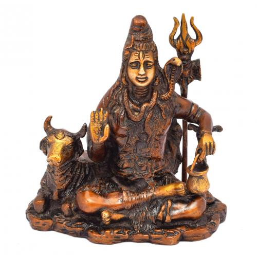 BRASS SCULPTURE SHIVA SITTING WITH NANDHI AQ