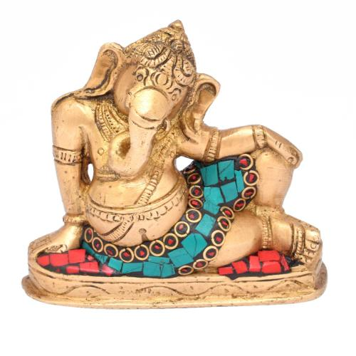 BRASS GANESHA RESTING WITH STONE WORK