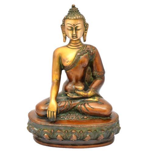 BRASS BUDDHA SAKYAMUNI SITTING ON BASE