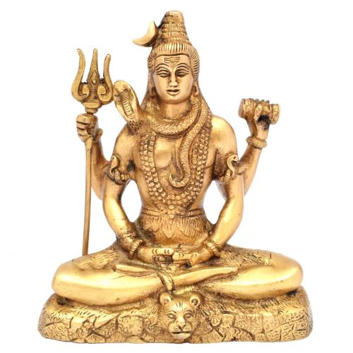 BRASS SHIVA SITTING ON TIGER BASE
