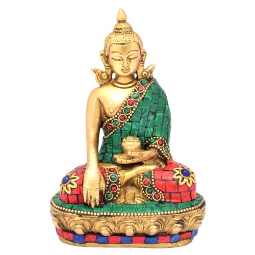 BRASS SAKYAMUNI SITTING GEM STONE WORK