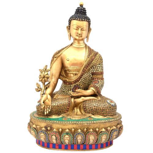 BRASS BUDDHA SITTING ON BASE MEENAKARI WOK