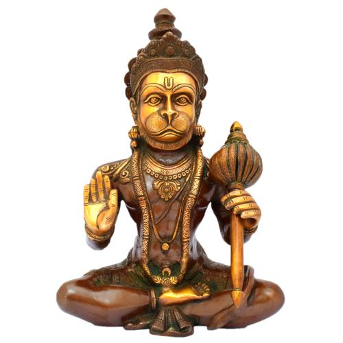 BRASS HANUMAN SITTING AQ