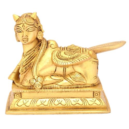 BRASS SCULPTURE KAMADHENU SITTING